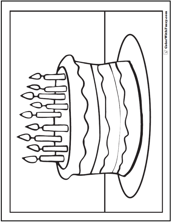 Ninth Birthday Cake Coloring Pages - 9 Candles