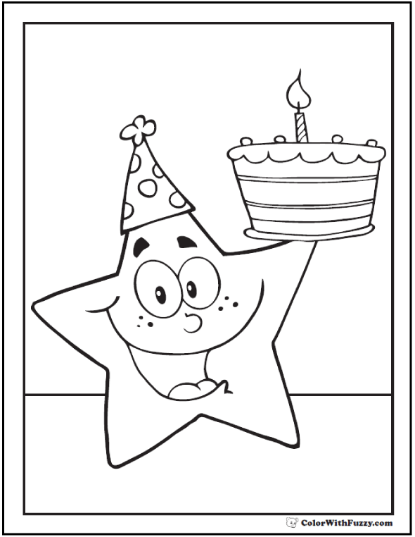 Star Birthday Coloring Page - Birthday Hat Star Theme