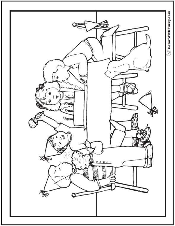 Birthday Coloring Pages - Family Party Theme.