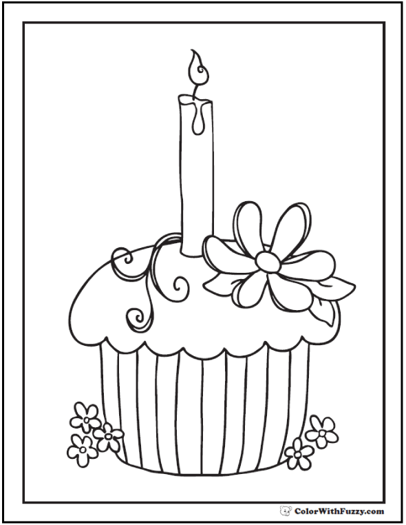 Birthday Cupcake Coloring Page - One Candle and Flower Decorations.
