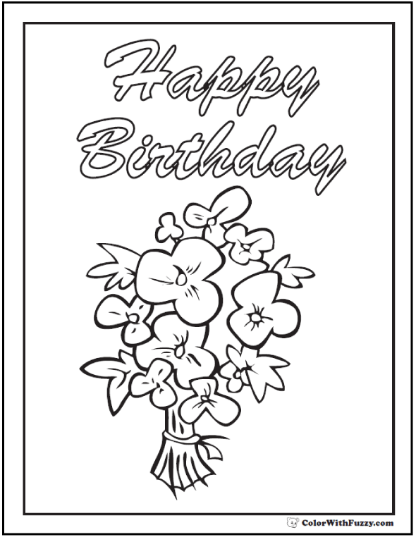 Happy Birthday Greetings Coloring Banner or Poster.