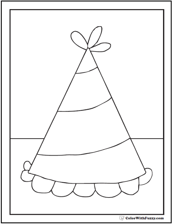 Child's Birthday Hat Coloring Page