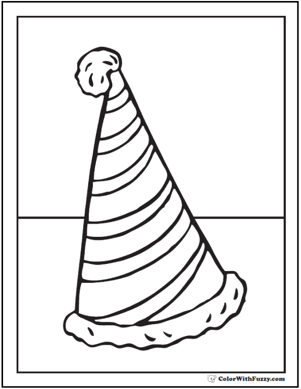 Fuzzy Santa Striped Birthday Hat Coloring