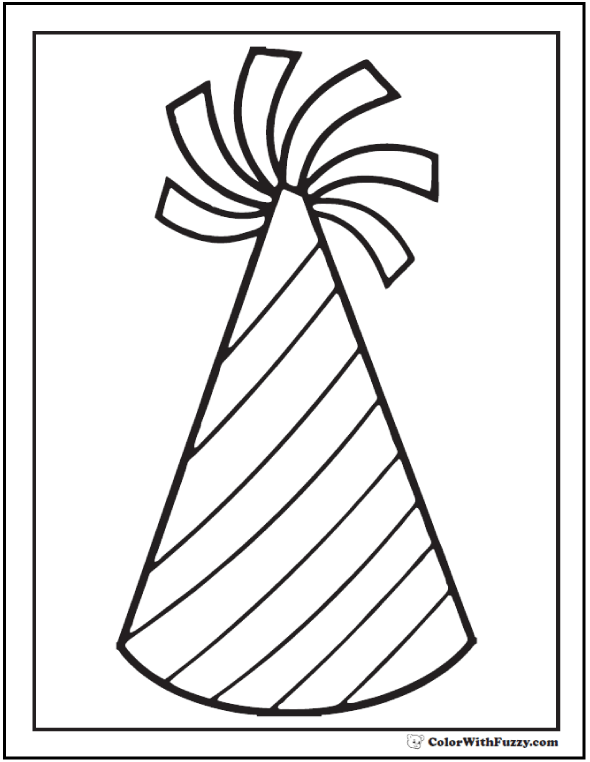 Birthday Hat Coloring - Stripes with tassel.