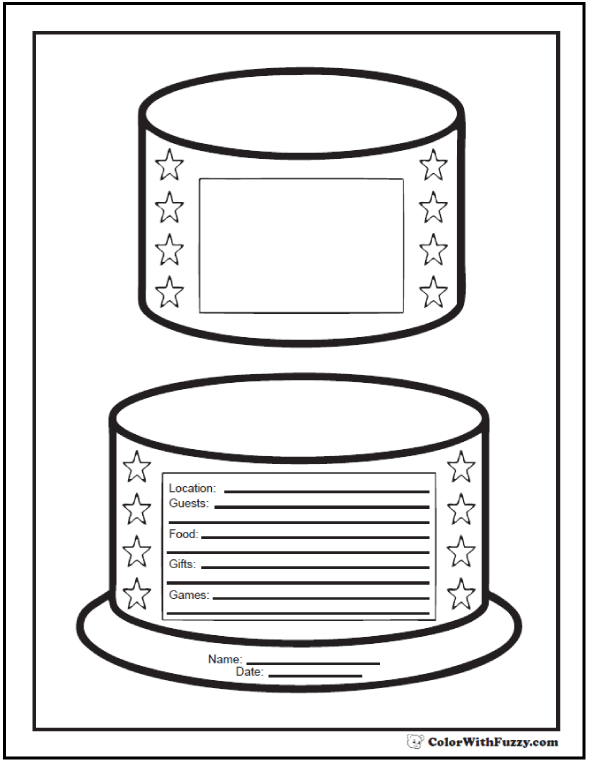 Printable Birthday Party Invitation Coloring Page