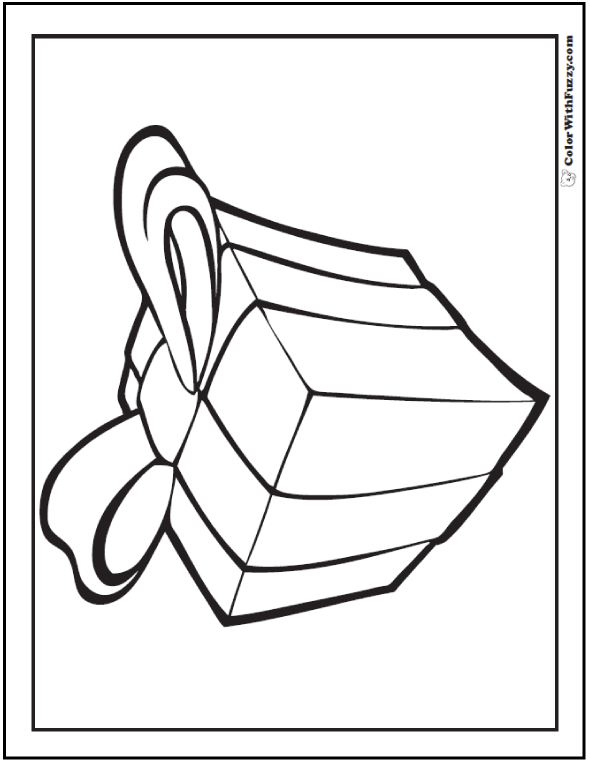 Christmas Or Birthday Present Coloring: Ribbon and Bow