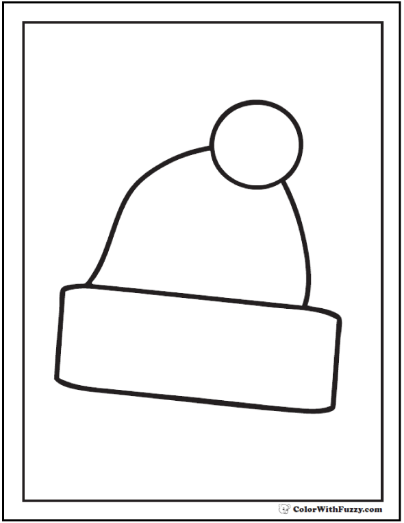 Birthday Santa Hat Coloring - Stocking cap to color.