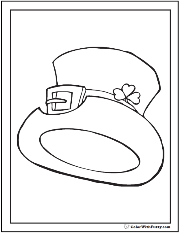 Birthday Top Hat Coloring - St. Patrick's Day Coloring Page