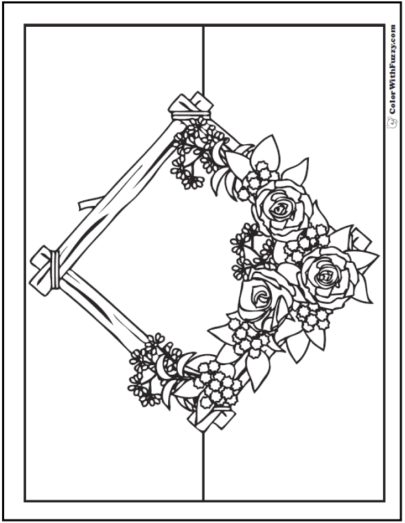 Rustic Roses Wreath Bouquet Of Flowers Coloring Page