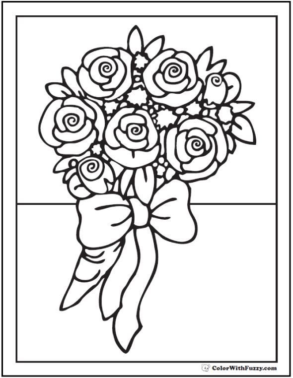 Ribboned bouquet of roses coloring page bouquet of roses