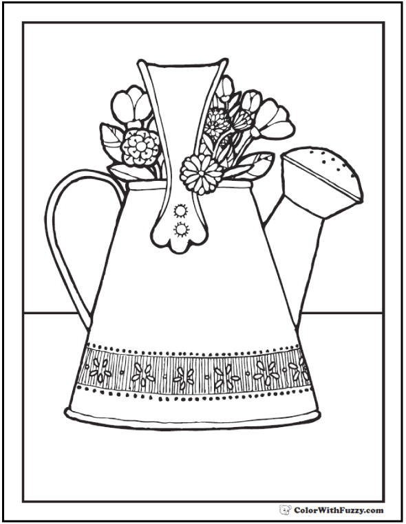 Garden Watering Can Flower Bouquet Picture Coloring