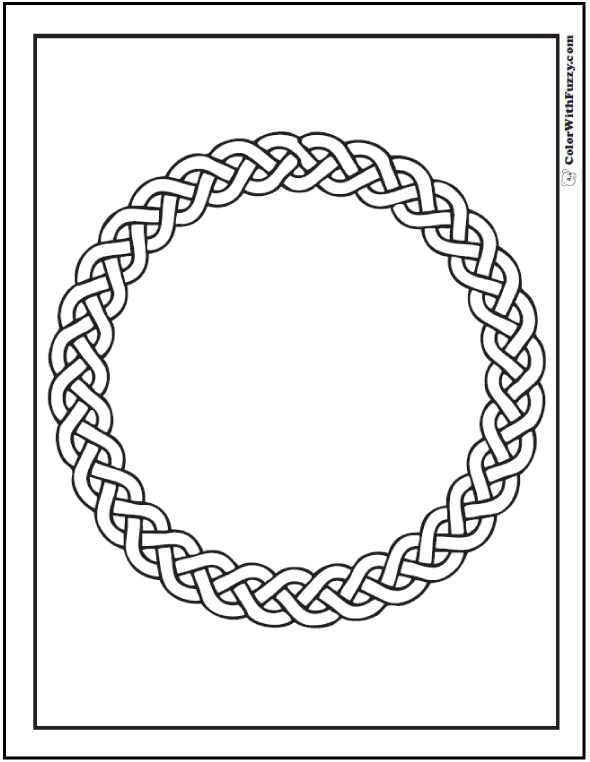 ColorWithFuzzy.com Celtic Coloring Pages: Circle Braid Wreath Celtic Coloring Page