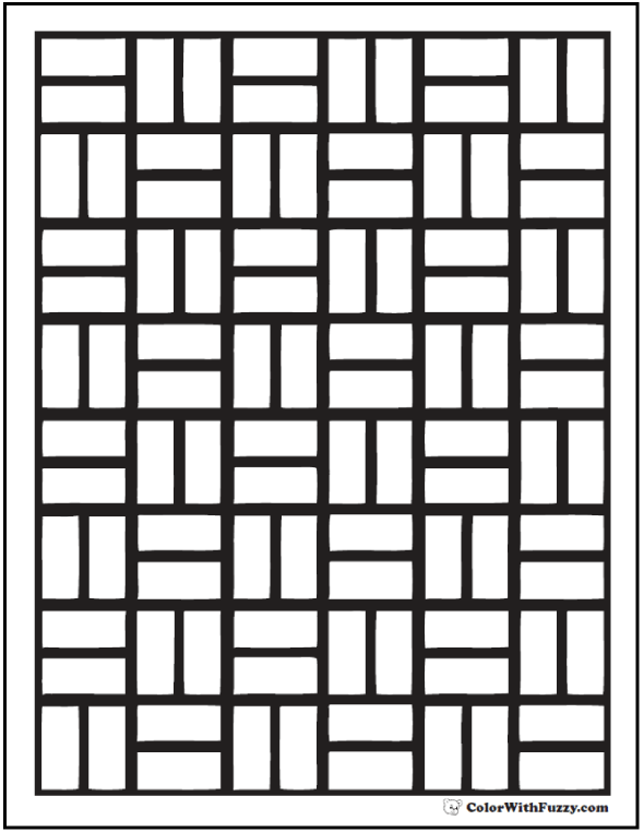 Parquet Brick Pattern Coloring Page