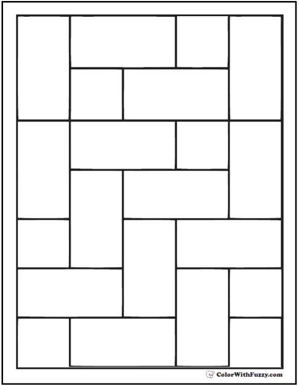 Offset Brick Pattern Coloring Pages