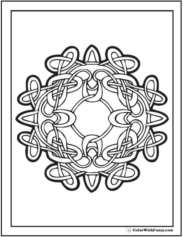 ColorWithFuzzy.com - Brigid Celtic Coloring Page. Infinity Wreath.