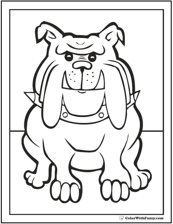 35 dog coloring pages breeds bones and dog houses for Bulldogs coloring pages