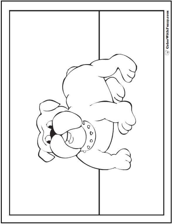 Cute bulldog coloring page.