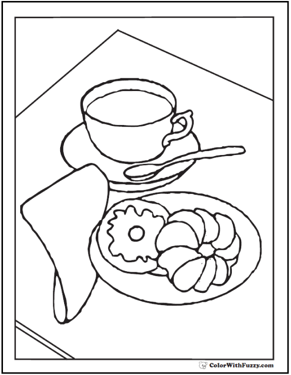 Cake and coffee coloring page.