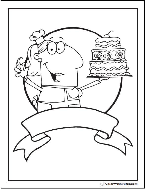 Personalize this baker's cake coloring sheet.