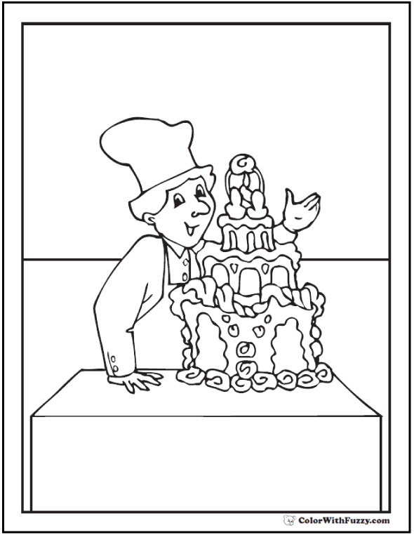 Chef and decorated cake coloring page.