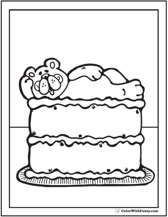Teddy Bear Cake coloring PDF.