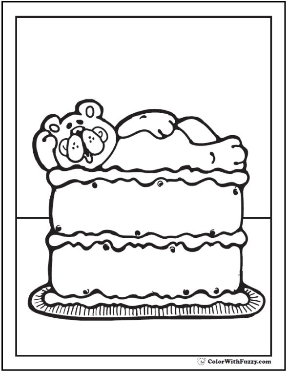 Teddy Bear Cake coloring PDF.