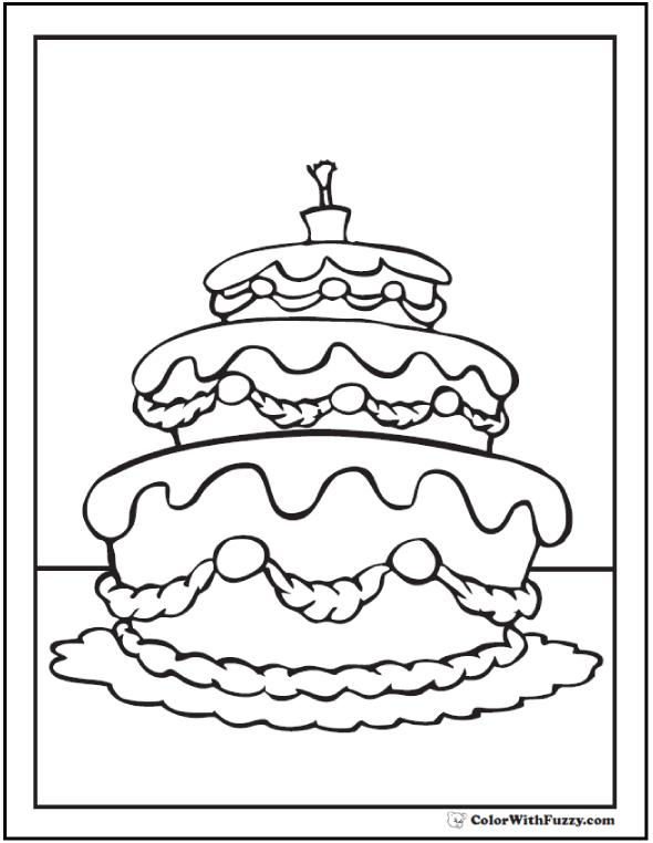 Fancy Wedding Cake Coloring Sheet