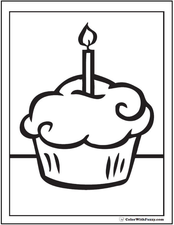 candle and cupcake coloring page - Cupcake Coloring Pages