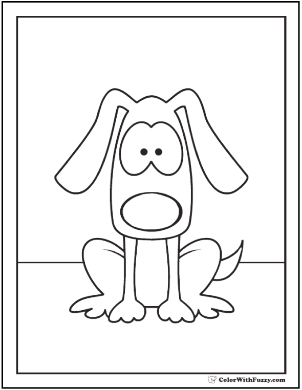 Surprised puppy dog coloring page.