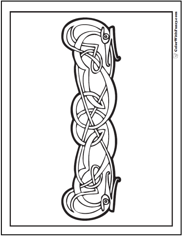 ColorWithFuzzy.com Celtic Coloring Pages: Serpent Celtic Animal Coloring Page