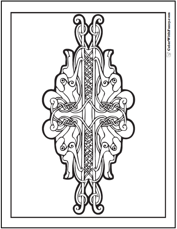Celtic Animal Designs are cool to color! See Fuzzy's #PrintableColoringPages.