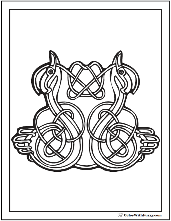 Fuzzy's got Celtic Animals Coloring sheets! This one shows swans tying a knot. #PrintableColoringPages at ColorWithFuzzy.com