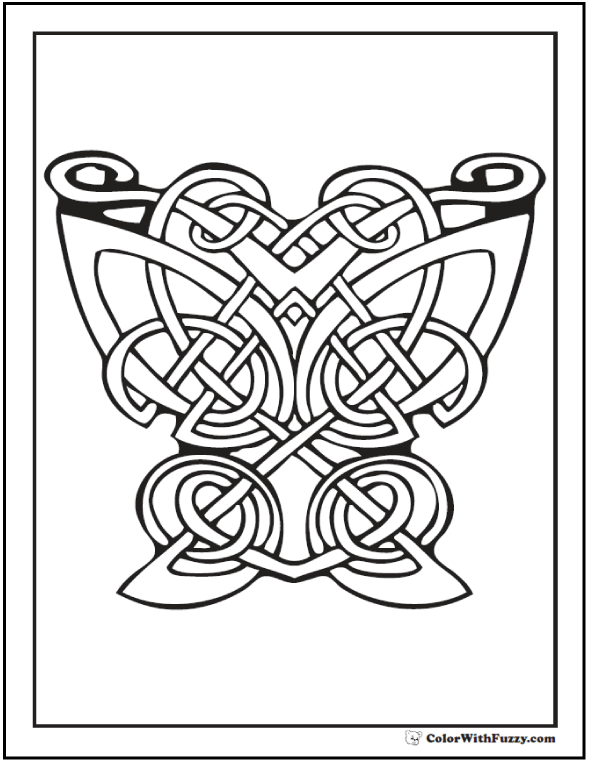 ColorWithFuzzy.com Celtic Coloring Pages: Large Butterfly Celtic Art Coloring Printables