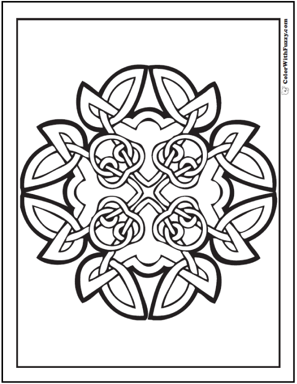 Celtic Art Design: Three leaf clover wreath of four knots coloring page.