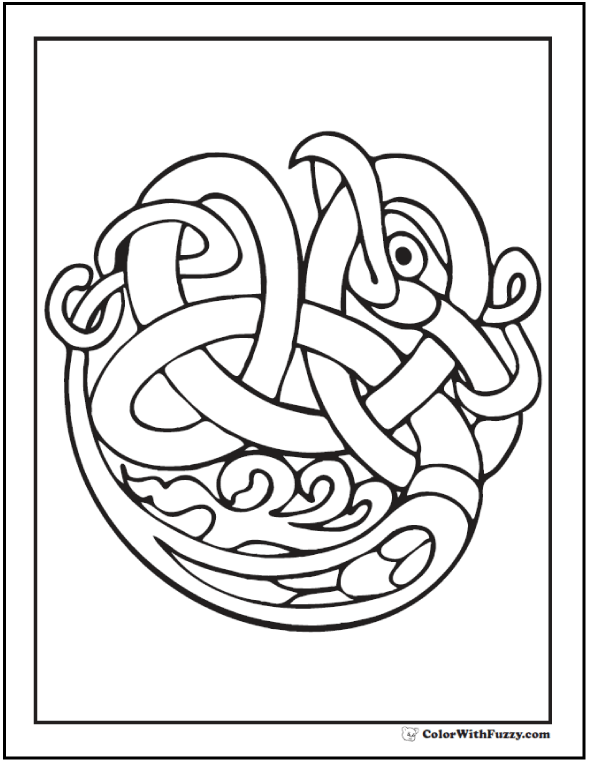 Celtic Bird Coloring Page: a tangled knot of face, wing, and talon.