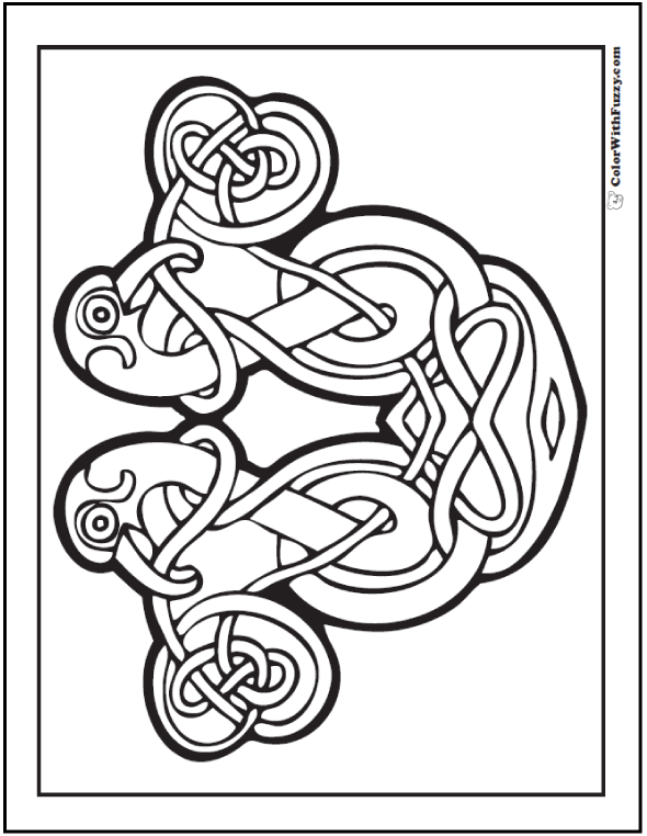 This coloring page has cool Celtic Bird Designs - mirror image of two birds.