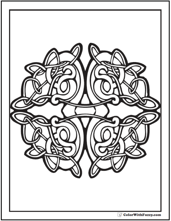 Celtic Coloring Page: Tight vine knots. #PrintableColoringPages at ColorWithFuzzy.com