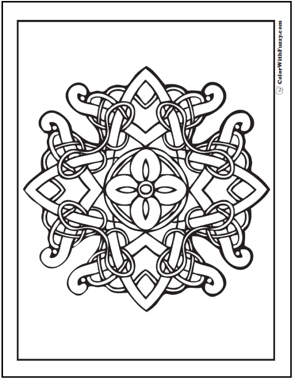 Fuzzy's Celtic Coloring Pages are fun to color! This one has a flower in the center of a cross shape with vines.