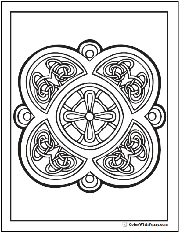 Fuzzy's Celtic Cross Coloring Page has a neat stained glass theme.