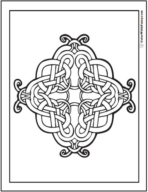ColorWithFuzzy.com Celtic Cross Coloring Pages are so cool! This one is intricate.