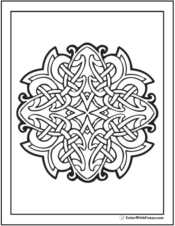 ColorWithFuzzy.com Celtic Cross Design coloring page. Squint to see several cruciform shapes.