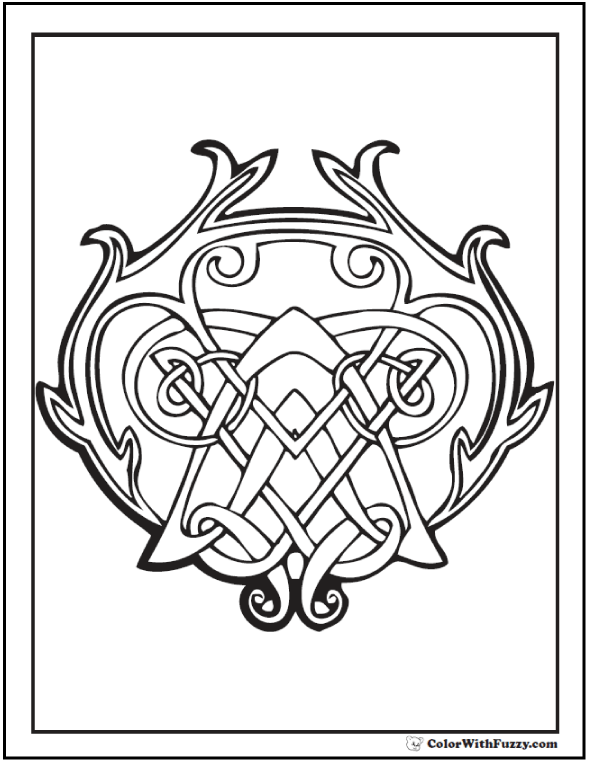 ColorWithFuzzy.com Celtic Designs:  Intricate Celtic Design Coloring Pages