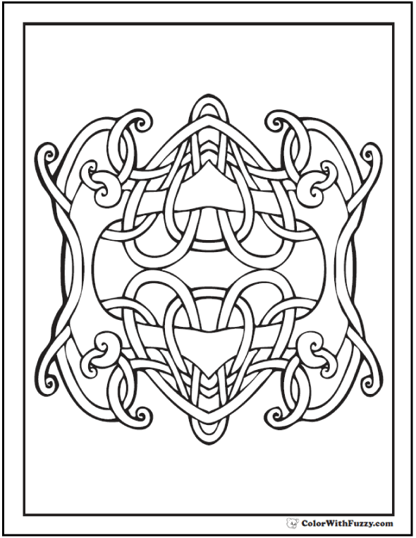 ColorWithFuzzy.com Celtic Knot Designs: Mirrored Hearts Celtic Design Coloring