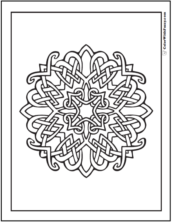 Celtic Coloring Pages at ColorWithFuzzy.com: Intersecting Celtic Design Cross with hearts and radiance. #ColorWithFuzzy #PrintableColoringPages #CelticColoringPages #AdultColoringPages