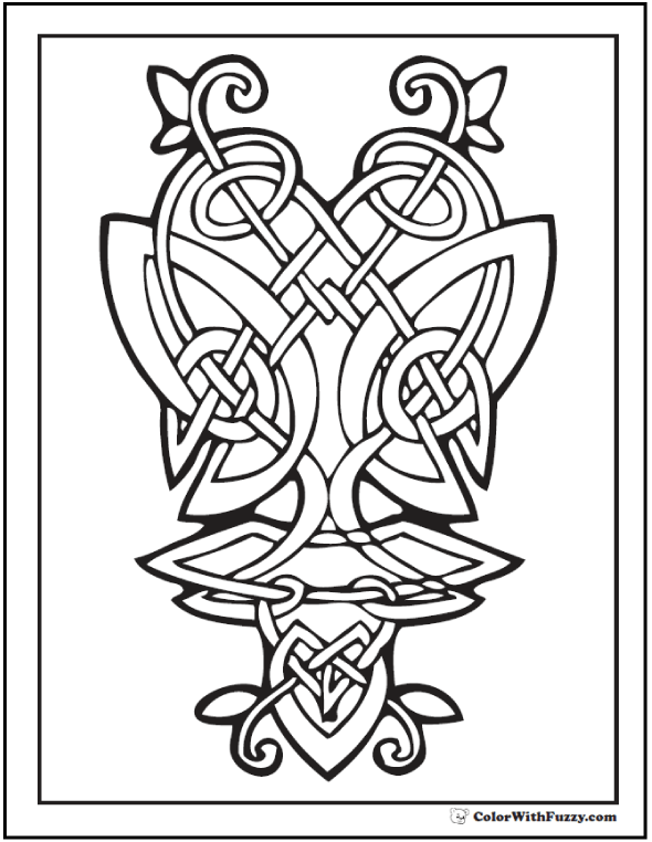 Celtic Designs Coloring Picture: Butterfly in Celtic knots.