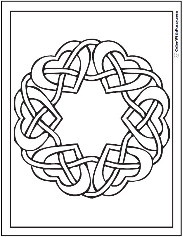 Fuzzy has a neat Celtic hearts coloring page: wreath of hearts.