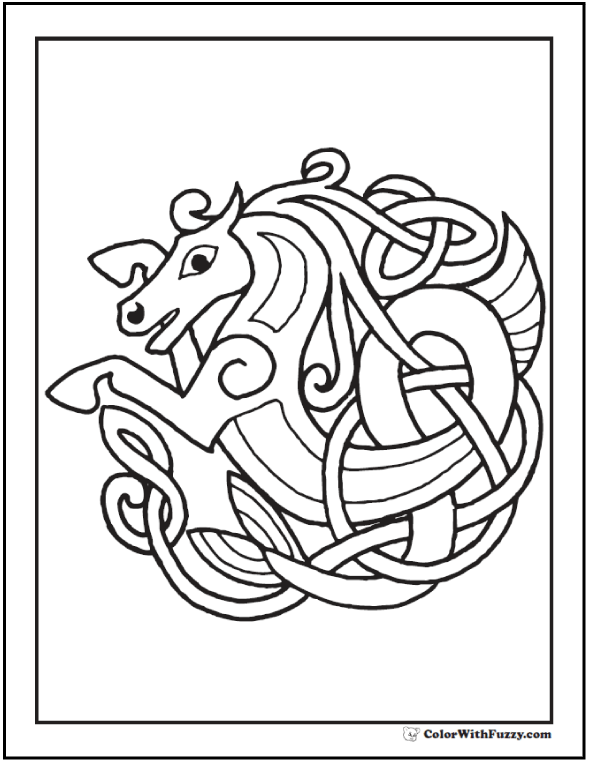 Fuzzy has a cool Celtic Horse Coloring Page: Rampant horse rising from the ocean with mane and tail in tangled Celtic knot style.
