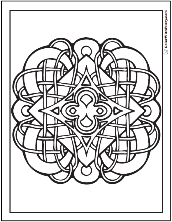 ColorWithFuzzy.com Celtic Knot Designs: Diamond on Diamond Celtic Coloring Designs