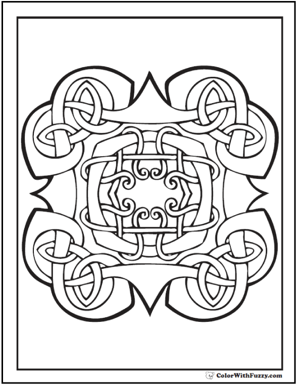 Celtic Knot Coloring Page: Celtic king's crown and medallion.