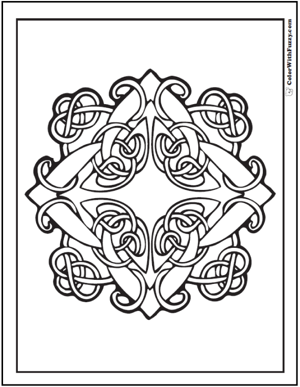 Simple Celtic Knot Border Sketch Coloring Page Sketch